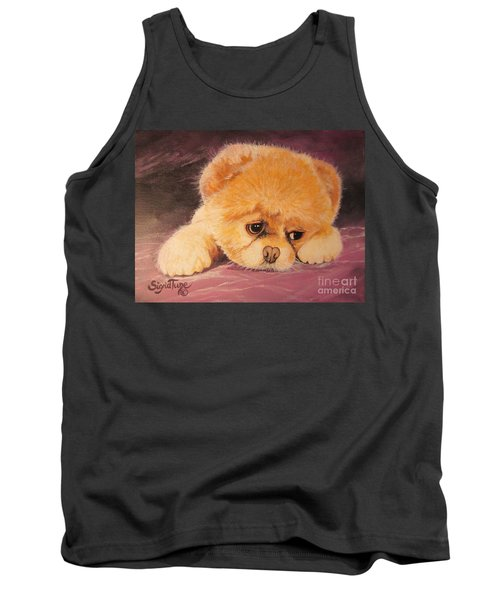 Tank Top featuring the painting  Flying Lamb Productions     Koty The Puppy by Sigrid Tune