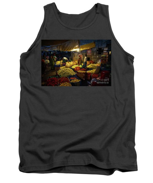 Tank Top featuring the photograph Koyambedu Chennai Flower Market Predawn by Mike Reid