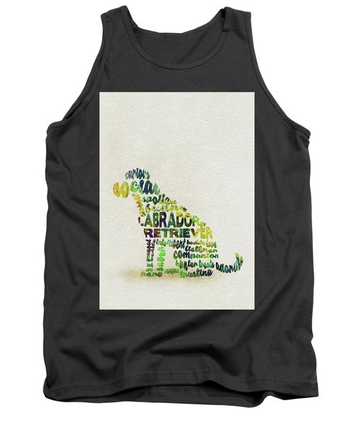 Tank Top featuring the painting Labrador Retriever Watercolor Painting / Typographic Art by Ayse and Deniz