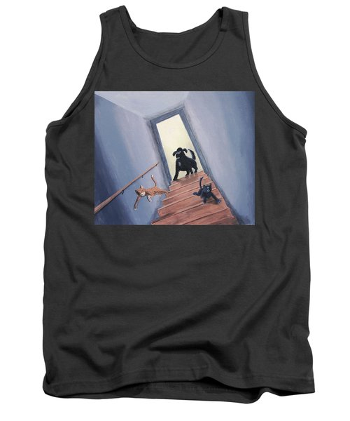 Lady Chases The Cats Down The Stairs Tank Top