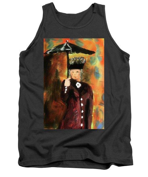 Lady With Umbrella Tank Top