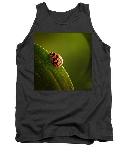 Ladybug  On Green Leaf Tank Top