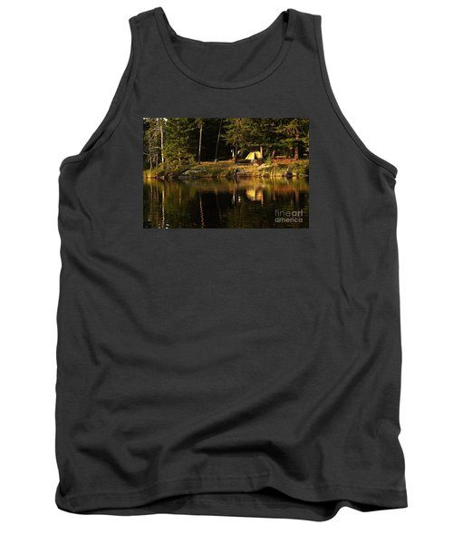 Tank Top featuring the photograph Lakeside Campsite by Larry Ricker