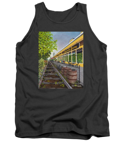 Tank Top featuring the painting Lambertville Station by Val Miller