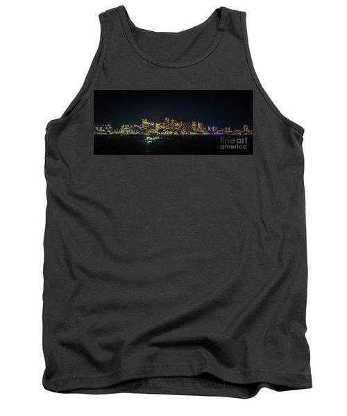 Large Panoramic Of Downtown Boston At Night Tank Top