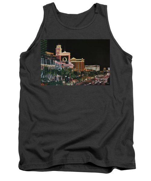 Las Vegas Strip Oil On Canvas Painting Tank Top