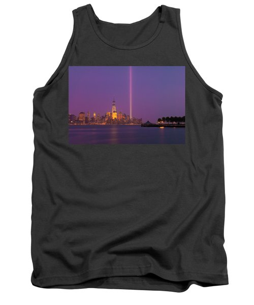 Tank Top featuring the photograph Laser Twin Towers In New York City by Ranjay Mitra