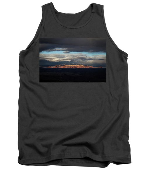 Tank Top featuring the photograph Late Light On Red Rocks With Storm Clouds by Ron Chilston