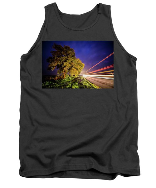 Late Night Texas Country Road Traffic Light Trails Tank Top
