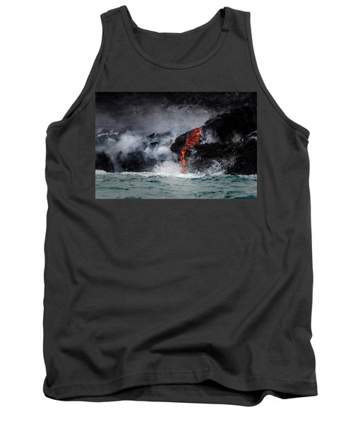 Lava Dripping Into The Ocean Tank Top