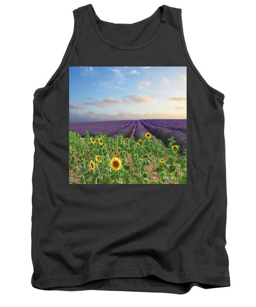 Lavender And Sunflower Flowers Field Tank Top by Anastasy Yarmolovich