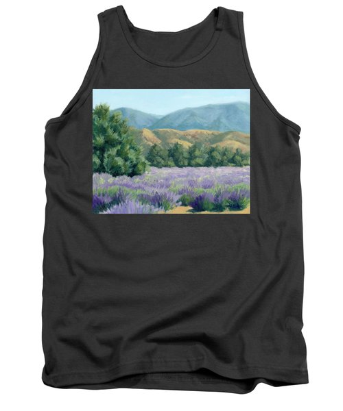 Tank Top featuring the painting Lavender, Blue And Gold by Sandy Fisher