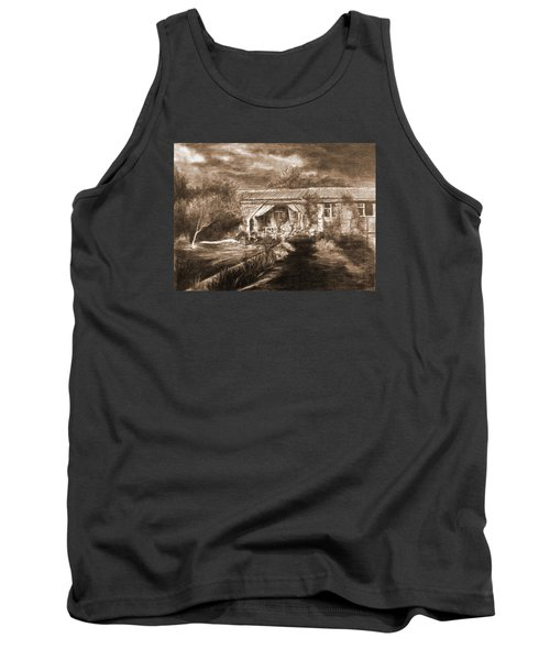 Tank Top featuring the drawing Lawn by Mikhail Savchenko