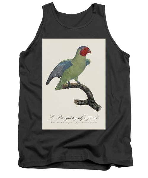 Le Perroquet Geoffroy Male / Red Cheeked Parrot - Restored 19th C. By Barraband Tank Top