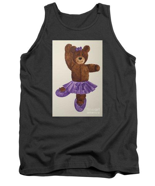 Tank Top featuring the painting Leah's Ballerina Bear 1 by Tamir Barkan
