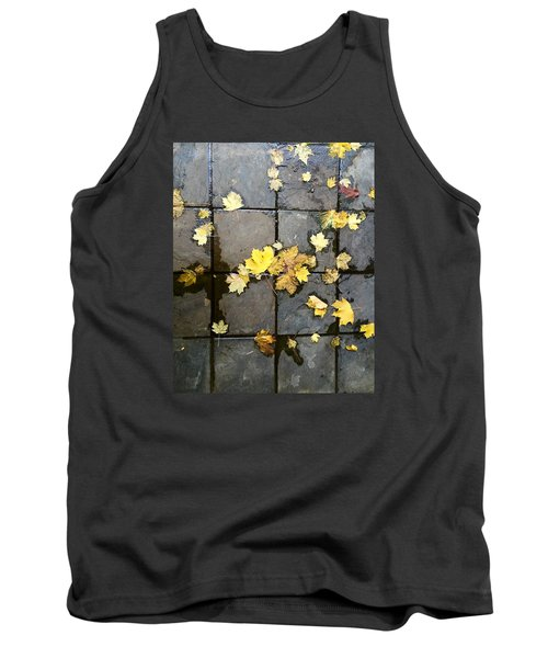 Leaves On Slate Tank Top by Suzanne Lorenz