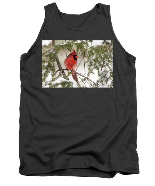 Tank Top featuring the photograph Leucistic Northern Cardinal by Everet Regal