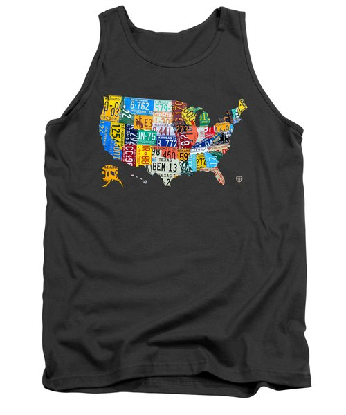 License Plate Map Of The United States Tank Top by Design Turnpike