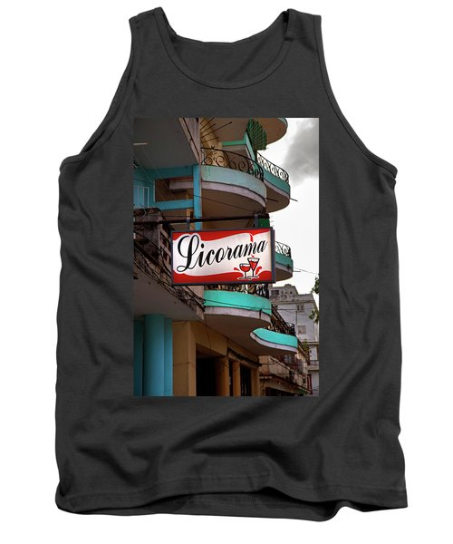 Tank Top featuring the photograph Licorama Bar Liquor Store In Havana Cuba At Calle 6 by Charles Harden