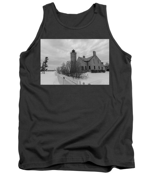 Tank Top featuring the photograph Lighthouse And Mackinac Bridge Winter Black And White  by John McGraw