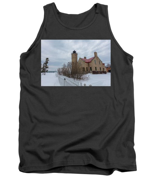 Tank Top featuring the photograph Lighthouse And Mackinac Bridge Winter by John McGraw