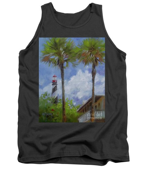 Lighthouse And Palms Tank Top by Mary Hubley