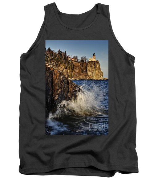 Tank Top featuring the photograph Lighthouse And Spray by Larry Ricker
