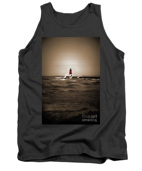 Lighthouse Glow Sepia Spot Color Tank Top