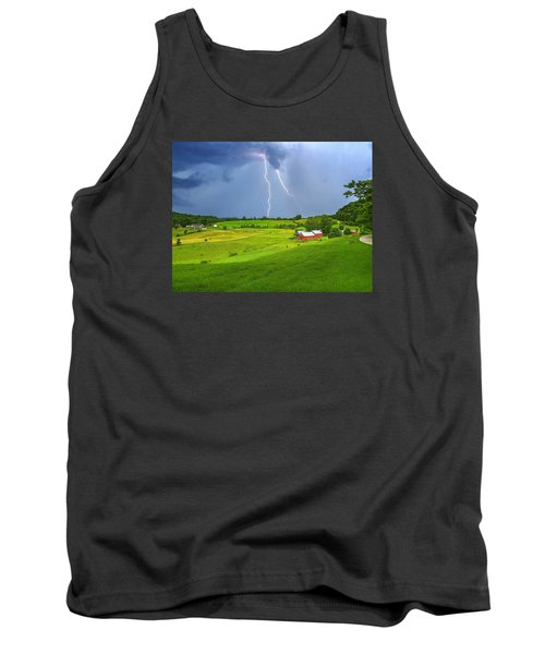 Lightning Storm Over Jenne Farm Tank Top by John Vose
