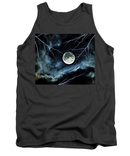 Lightning Sky At Full Moon Tank Top