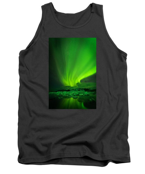 Tank Top featuring the photograph Lights Over Jokulsarlon by Chris McKenna