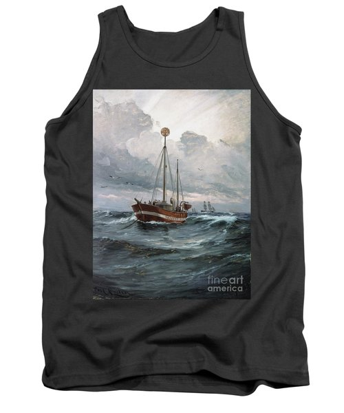 Tank Top featuring the painting Lightship At Skagen Reef by Pg Reproductions