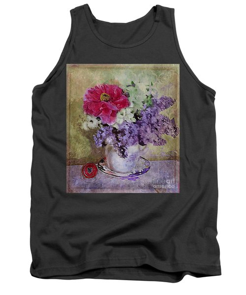 Tank Top featuring the digital art Lilac Bouquet by Alexis Rotella