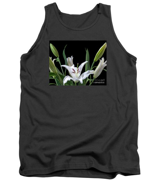 A White Oriental Lily Surrounded Tank Top by David Perry Lawrence