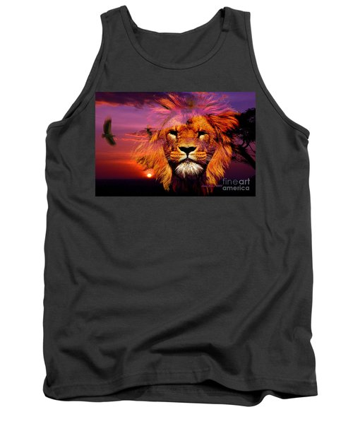 Lion And Eagle In A Sunset Tank Top