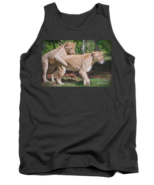 Tank Top featuring the painting Lion Backer by Judy Kay