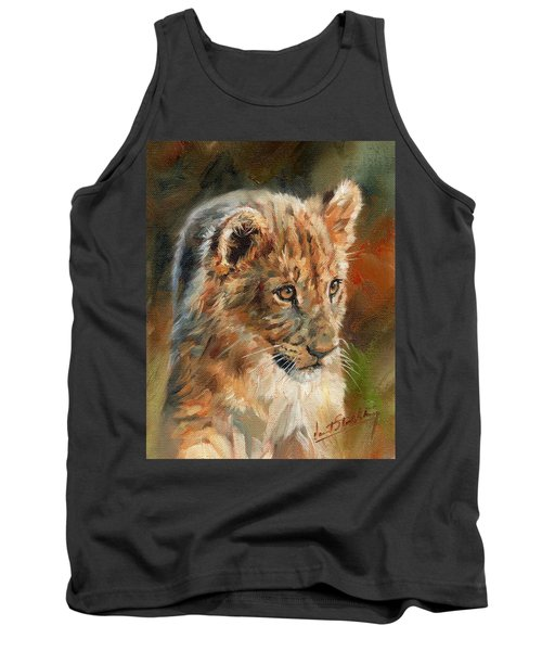Tank Top featuring the painting Lion Cub Portrait by David Stribbling