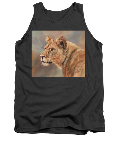 Tank Top featuring the painting Lioness Portrait by David Stribbling