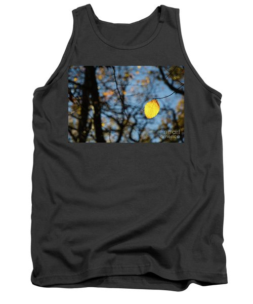 Tank Top featuring the photograph Lit Lone Leaf by Kennerth and Birgitta Kullman
