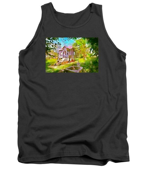 Caribbean Scenes - Little Country House Tank Top by Wayne Pascall