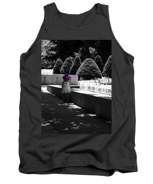 Little Girl In Magenta Hat Black And White Selective Color Tank Top