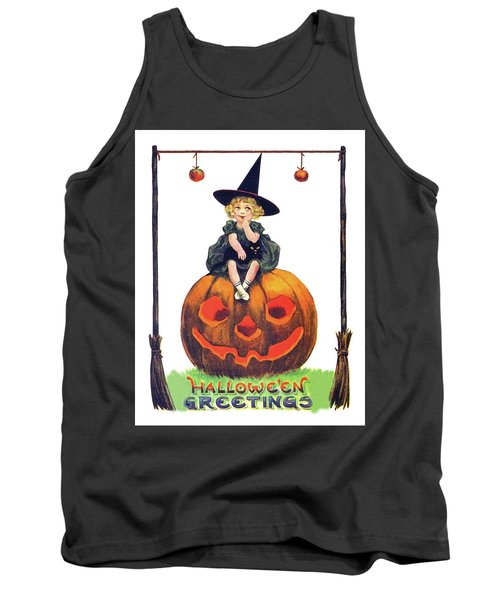Little Witch On A Big Pumpkin Tank Top