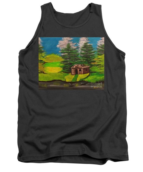 Tank Top featuring the painting Log Cabin by Brindha Naveen