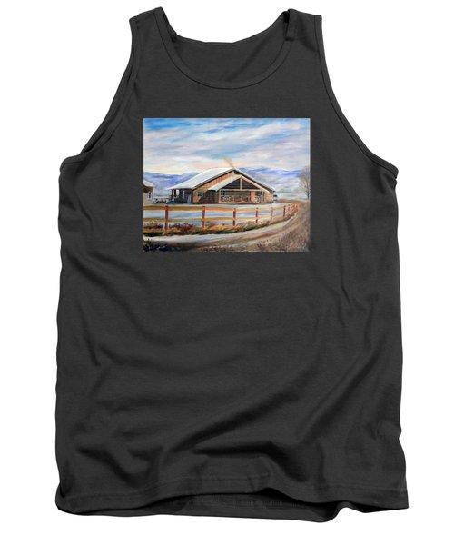 Log Cabin House In Winter Tank Top by Sherril Porter