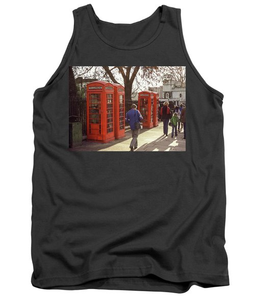 Tank Top featuring the photograph London Call Boxes by Jim Mathis