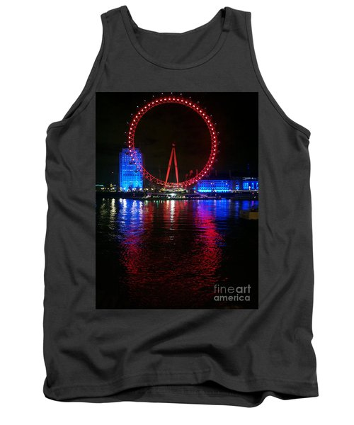 Tank Top featuring the photograph London Eye At Night by Hanza Turgul