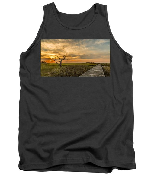 Lone Cedar Dock Sunset - Dewees Island Tank Top