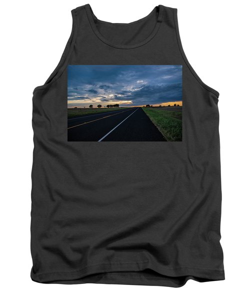 Lone Highway At Sunset Tank Top