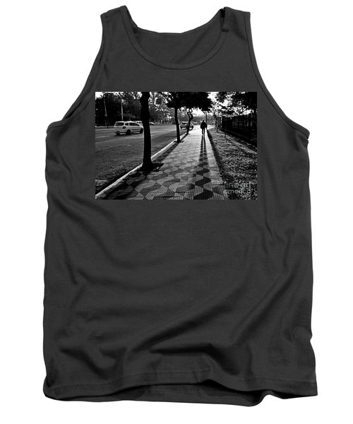 Lonely Man Walking At Dusk In Sao Paulo Tank Top