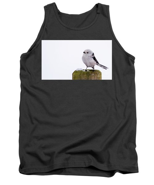 Tank Top featuring the photograph Long-tailed Tit On The Pole by Torbjorn Swenelius